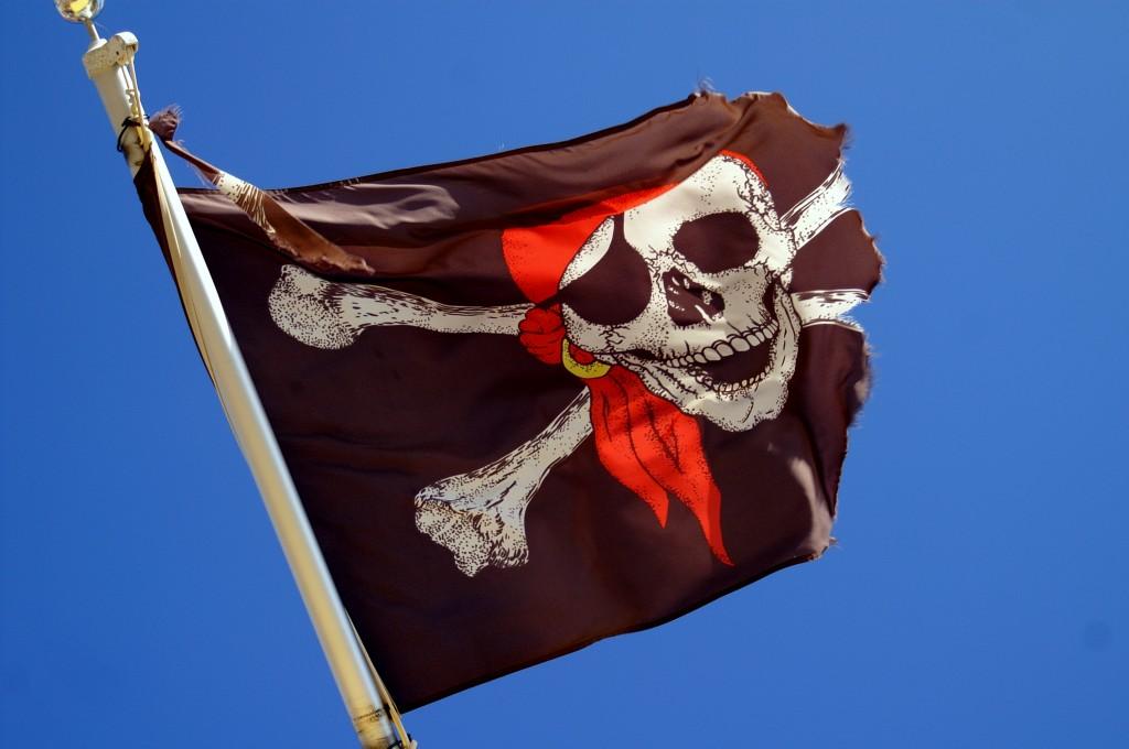 Eine schwarze Piratenflagge